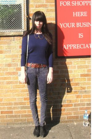 blue vintage sweater - black Esprit shoes - purple BDG jeans - brown vintage bel