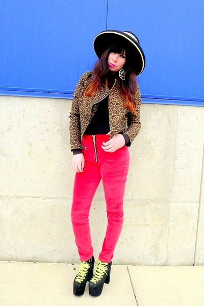 brown leopard Urban Outfitters jacket - red axl UNIF pants