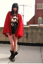 red hooded vintage cape