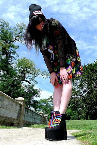 black hellbound UNIF shoes - black cartoon Lazy Oaf dress