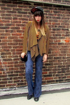 striped some velvet vintage cardigan