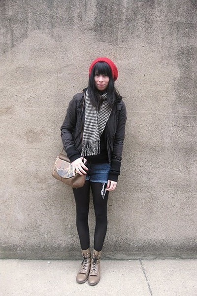 brown vintage purse - black H&M jacket - brown vintage boots