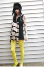 Black-h-m-hat-yellow-dollar-store-tights-white-vintage-jacket