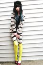 Black-h-m-hat-yellow-dollar-store-tights-white-vintage-jacket
