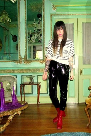 black shiny Nasty Gal pants
