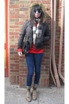 red vintage sweater - blue vintage glasses - brown vintage boots