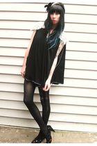 black vintage dress - white vintage dress