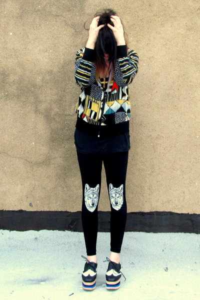 blue creepers Jeffrey Campbell shoes - black abstract vintage coat