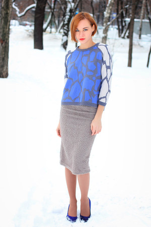 asos sweater - blue H&amp;M heels - silver nowIStyle skirt