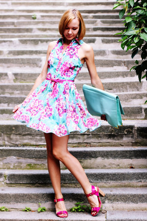light blue clutch asos bag - hot pink floral print RARE dress