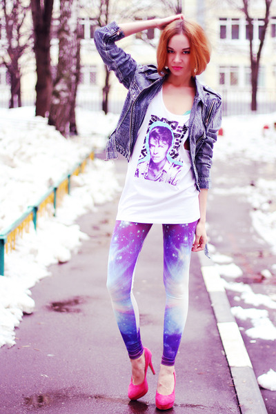 chicnova jacket - Choies leggings - asos vest - hot pink asos heels