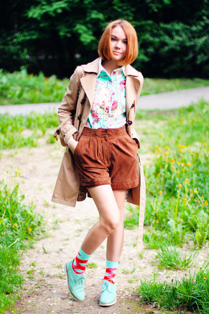 beige H&M coat - BangGood shirt - Mango shorts - minga berlin socks