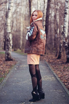 Choies jacket - Choies boots - Front Row Shop dress - Tights please leggings