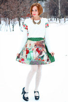 Chicwish sweater - Chicwish skirt - eFoxCity necklace