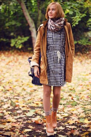 mustard parka Vila coat - checkered Mango dress - navy satchel Topshop bag