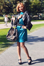 Black-rocker-vero-moda-jacket-teal-atlas-self-made-dress