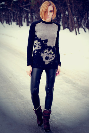 animal print asos sweater - black leather nowIStyle leggings