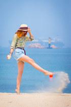 6ks shorts - zeroUV sunglasses - Sheinside blouse