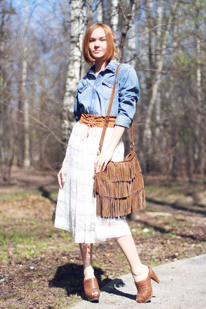brown Oasis bag - white Chicwish skirt - brown Zara heels - Zara Taylor bracelet