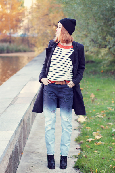 evil twin jeans - Sheinside coat - Brian Lichtenberg hat - Sheinside sweater