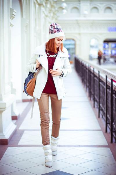Choies coat - Choies boots - Chicwish sweater - BangGood bag