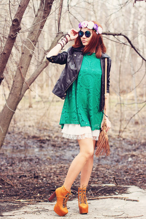 Udobuy boots - Sheinside dress - zeroUV sunglasses