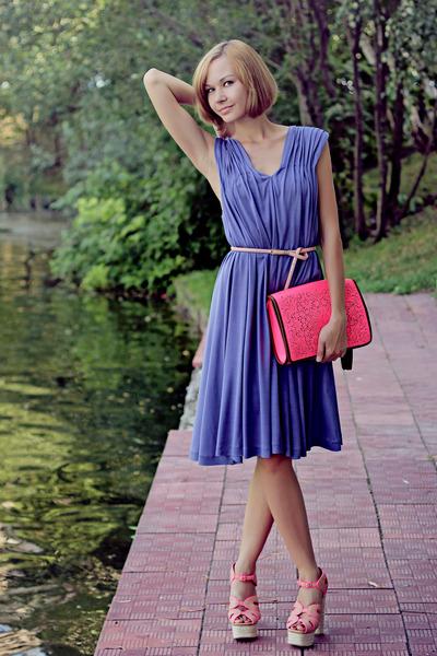 hot pink River Island bag - light purple silk Selected dress