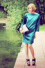 Teal-silk-self-made-dress-snake-print-mango-bag