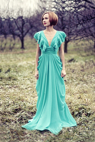 turquoise blue chiffon Msdressy dress