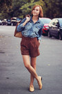 Blue-jeans-h-m-shirt-zara-bag-brick-red-suede-mango-shorts