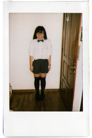 black cotton on shorts - white vintage shirt - black - black socks - black glass