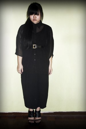 black sheer asos shirt - black maxi dress - black wedges
