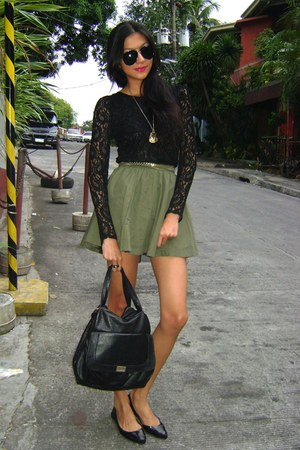 black lace from Korea top - black bag - black J flats