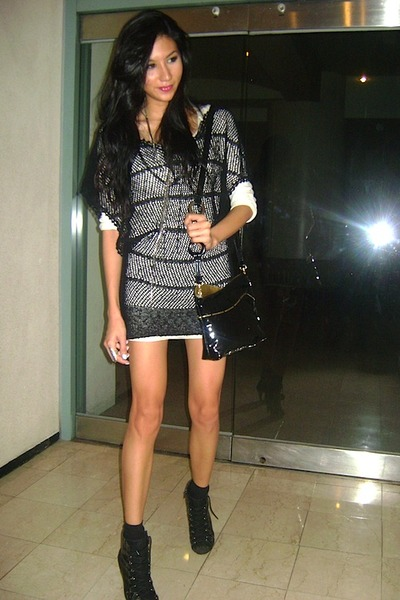 black boots - black crochet random from Hong Kong dress - ivory Bershka dress