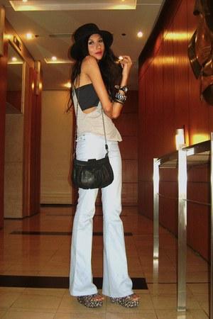 black SM hat - black H&M bag - light blue Bershka pants - black bandeau random i
