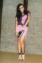 purple random dress - purple CELIO shirt - black What Women Want necklace - blac