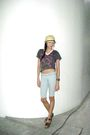 Yellow-payless-hat-white-bangkok-necklace-gray-folded-hung-top-blue-papa
