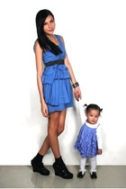 blue Zara dress - blue babys dress Gymboree dress - black Parisian shoes