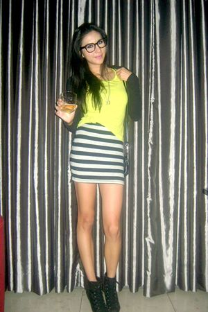 green random top - black Charles & Keith boots - gray striped Forever 21 dress