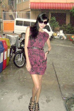 red Jus Hong Kong dress - black H&M belt - Shoes shoes - black Kenneth Cole acce