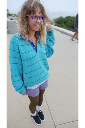 turquoise blue cotton thrifted sweater - violet floral and lace handmade shorts
