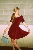 velvet Anne Fogarty dress - vintage bag