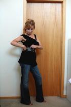 elle top - forever 21 belt - Seven For All Mankind jeans - Nine West shoes