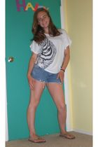 white Forever 21 shirt - blue PacSun shorts - brown Rainbows shoes
