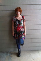 red vintage dress - blue Mossimo leggings - black thrifted boots - black Target