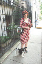 Diane Von Furstenberg dress - RoseGold shoes - bob dylan record purse