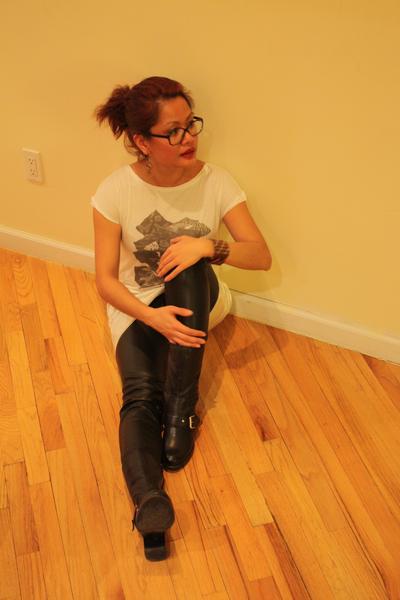 Nine West boots - h&m via thrift town pants - Eryn Brinie dress