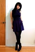 black Payless Shoesource boots - blue strawberry dress - black Ginger G sweater