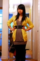 american eagle outfitters sweater - Zara dress - H&M tights - Zara belt