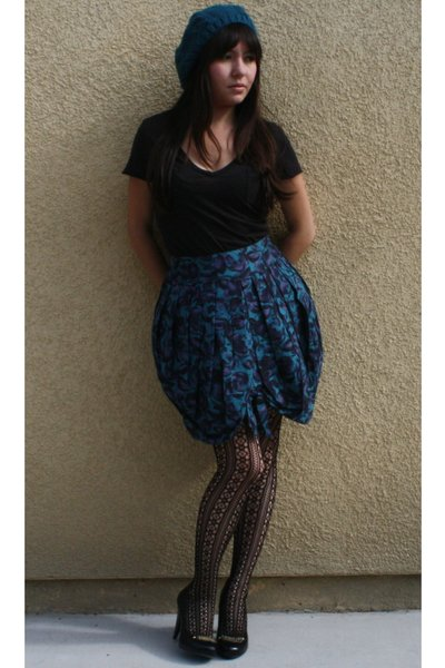 blue Anna Sui skirt - black Forever 21 tights - black Forever 21 t-shirt - black